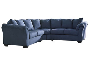 Darcy Blue Loveseat Sectional