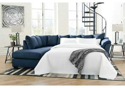 Darcy Blue Full Sofa Sleeper w/LAF Chaise