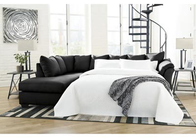 Darcy Black Full Sofa Sleeper w/LAF Chaise