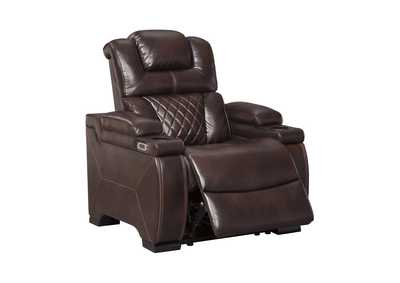 Warnerton Chocolate Power Recliner w/Adjustable Headrest
