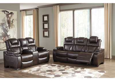 Warnerton Chocolate Power Reclining Sofa and Loveseat