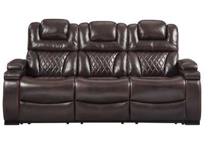 Warnerton Chocolate Power Reclining Sofa w/Adjustable Headrest