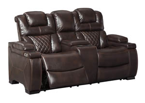 Warnerton Chocolate Power Reclining Loveseat w/Console and Adjustable Headrest
