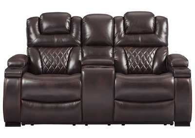 Warnerton Chocolate Power Reclining Loveseat w/Console and Adjustable Headrest,Signature Design By Ashley