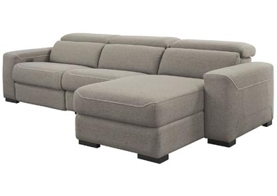 Mabton Gray Right-Arm Facing Power Reclining 3 Piece Sectional Chaise