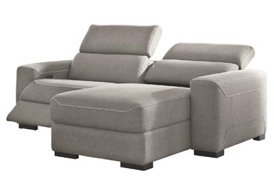 Mabton Gray Right-Arm Facing Power Reclining 2 Piece Sectional Chaise