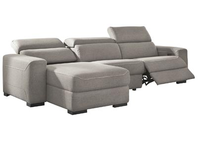 Mabton Gray Left-Arm Facing Power Reclining 3 Piece Sectional Chaise