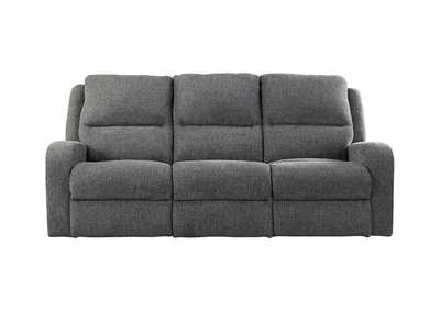 Krismen Charcoal Power Reclining Sofa w/Adjustable Headrest