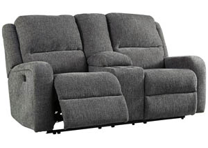 Krismen Charcoal Power Reclining Loveseat w/Console Adjustable Headrest