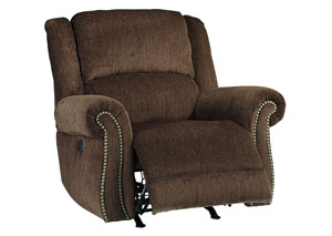 Goodlow Chocolate Power Reclining Rocker w/Adjustable Headrest