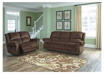 Goodlow Chocolate Power Reclining Sofa and Loveseat w/Adjustable Headrest