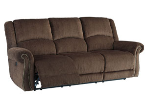 Goodlow Chocolate Power Reclining Sofa w/Adjustable Headrest