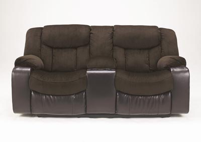 Tafton Java Double Reclining Loveseat w/Console