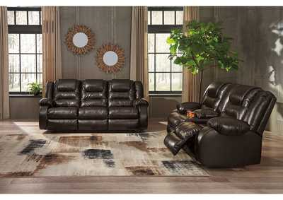 Vacherie Chocolate Reclining Sofa and Double Reclining Loveseat w/Console