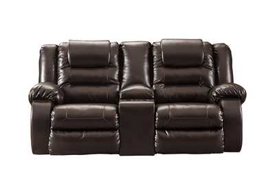 Vacherie Chocolate Double Recliner Loveseat w/Console