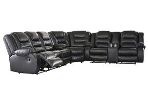 Vacherie Black Reclining Sectional