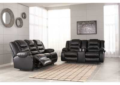Vacherie Black Reclining Sofa and Double Loveseat w/Console