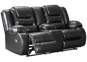 Vacherie Black Double Reclining Loveseat w/Console