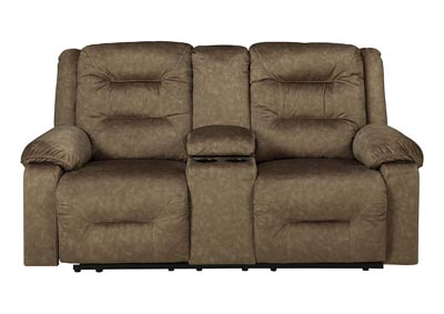 Waldheim Mocha Power Reclining Loveseat w/Console & ADJ Headrest