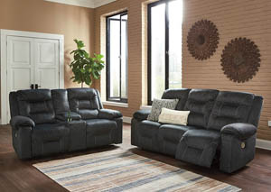 Waldheim Gray Power Reclining Sofa and Loveseat with ADJ Headrest
