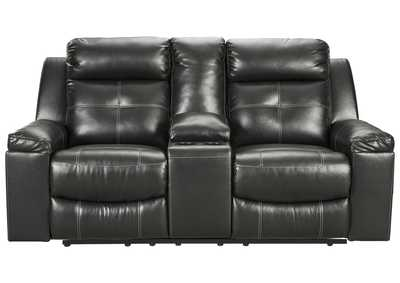 Kempten Black Recliner Loveseat w/Console