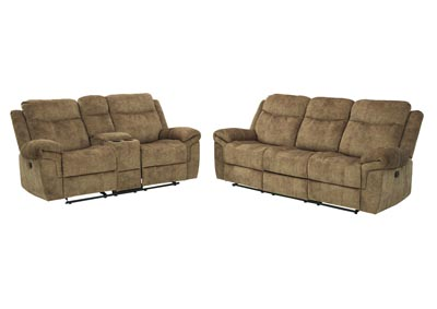 Huddle-Up Nutmeg Reclining Sofa and Loveseat w/Console and Drop Down Table