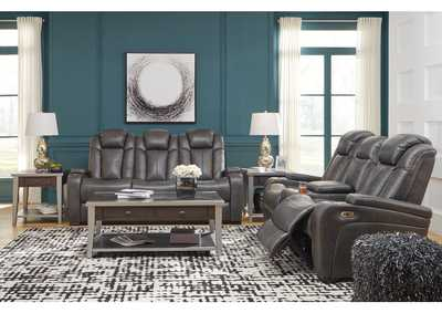 Image for Turbulance Quarry Leather Power Reclining Sofa & Loveseat w/Adjustable Headrest & Console