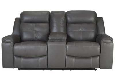 Jesolo Dark Gray Double Recliner Loveseat w/Console