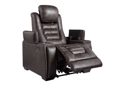 Cave Warrior Distressed Black Power Recliner