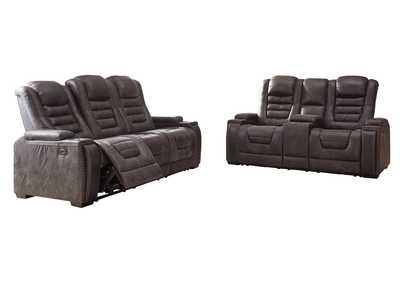 Cave Warrior Distressed Black Power Reclining Sofa and Loveseat
