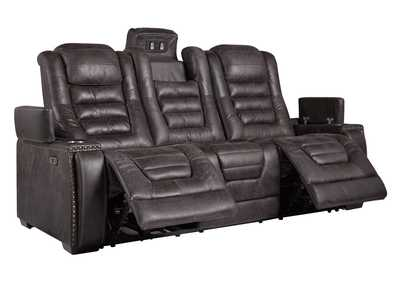 Cave Warrior Distressed Black Power Reclining Sofa