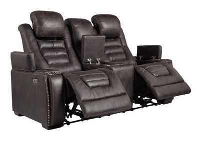 Cave Warrior Distressed Black Power Reclining Loveseat w/Console
