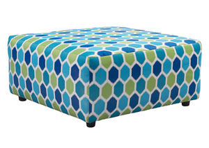 Ayanna Nuvella Turquoise Oversized Accent Ottoman