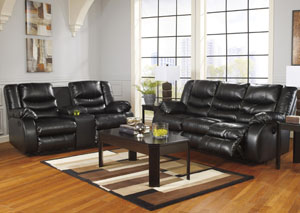 Linebacker DuraBlend® Black Reclining Sofa and Double Reclining Loveseat w/Console