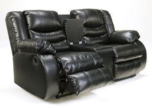 Linebacker DuraBlend Black Double Reclining Loveseat w/Console
