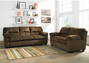 Dailey Chocolate Sofa and Loveseat