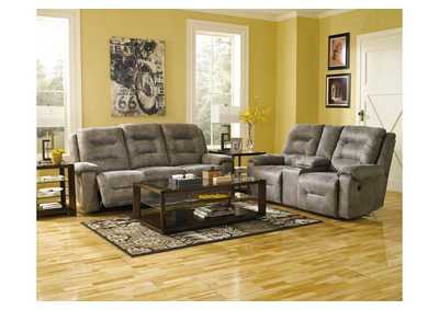 Rotation Smoke Double Reclining Power Loveseat w/ Console,Signature Design By Ashley