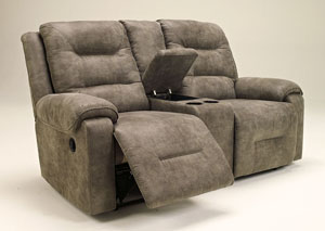 Rotation Smoke Double Reclining Loveseat w/Console