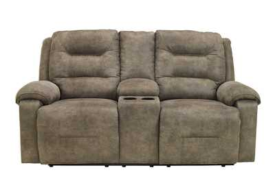 Rotation Smoke Double Reclining Loveseat w/ Console