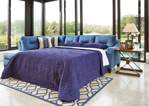 Kirwin Nuvella Blue Right Facing Queen Sleeper Sectional
