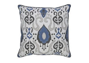 Damaria Blue/Ivory/Brown Pillow