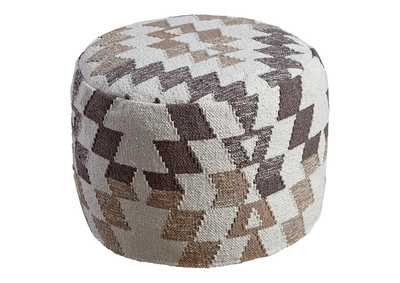 Image for Abraham White/Brown Pouf