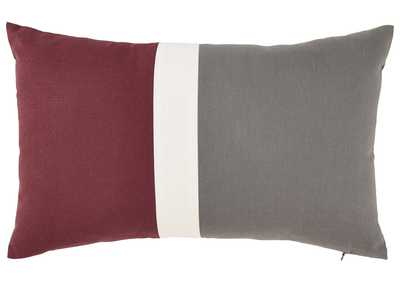 Jacop Gray/White/Brick Red Pillow (4/CS)