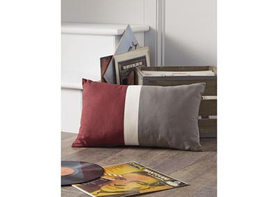 Jacop Gray/White/Brick Red Pillow