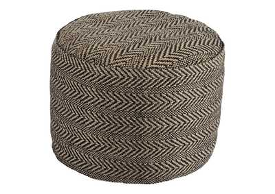 Image for Chevron White Pouf
