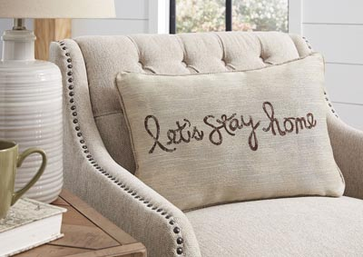 Let's Stay Home Chocolate Pillow (Set of 4),Signature Design By Ashley
