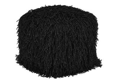 Image for Cairo Black Fluffy Pouf