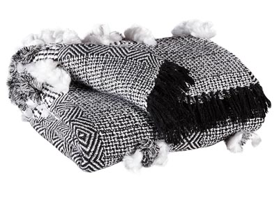 Javaine Black/White Woven 3 Piece Throw Set
