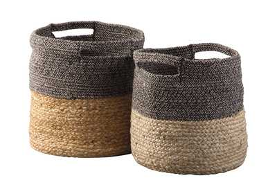 Parrish Natural/Black 2 Piece Basket Set