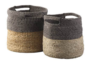 Parrish Natural/Black Basket Set (Set of 2)